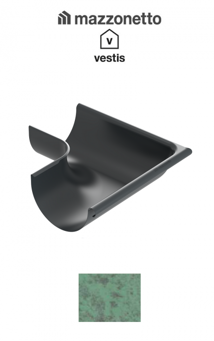 Coltar exterior semicircular jgheab Ø150, Burlan Ø100, Aluminiu Mazzonetto Vestis, RAL Copper Green [0]