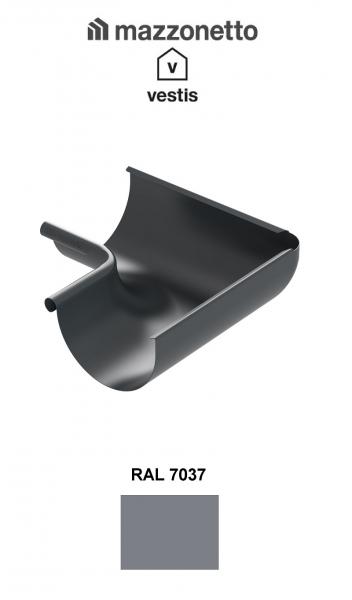 Coltar interior semicircular jgheab Ø150, Burlan Ø100, Aluminiu Mazzonetto Vestis, RAL 7037 0