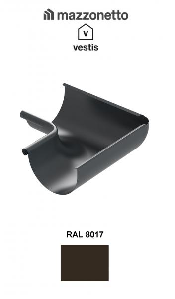 Coltar interior semicircular jgheab Ø150, Burlan Ø100, Aluminiu Mazzonetto Vestis, RAL 8017 0