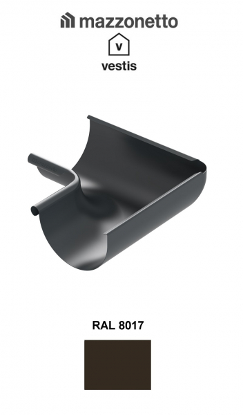 Coltar interior semicircular jgheab Ø150, Burlan Ø100, Aluminiu Mazzonetto Vestis, RAL 8017 1