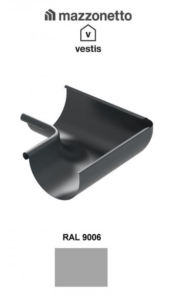 Coltar interior semicircular jgheab Ø150, Burlan Ø100, Aluminiu Mazzonetto Vestis, RAL 9006 0