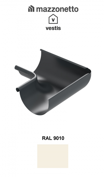 Coltar interior semicircular jgheab Ø150, Burlan Ø100, Aluminiu Mazzonetto Vestis, RAL 9010 [0]