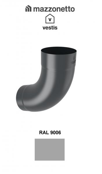 Cot semicircular 72° Ø100, Aluminiu Mazzonetto Vestis, RAL 9006 0