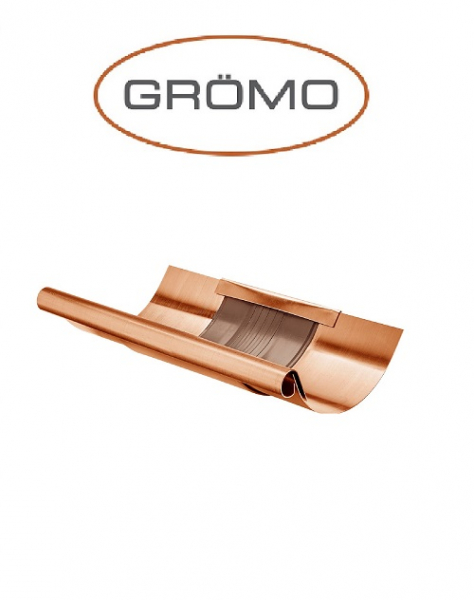 Element dilatare jgheab semicircular cu capac 400, Cupru Gromo 0