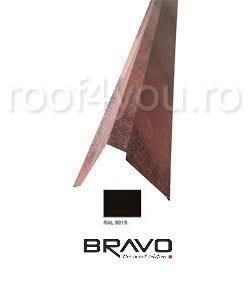 Fronton tip coama 2 m Lucios BRAVO  0,45 mm / RAL 8019  latime 312 mm 0