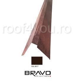 Fronton tip coama 2 m Structurat  BRAVO  0,40 mm / RAL 8017  latime 312 mm 0