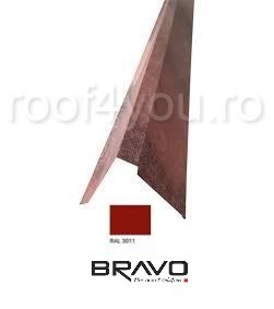 Fronton tip coama 2 m Structurat  BRAVO  0,45 mm / RAL 3011  latime 312 mm 0