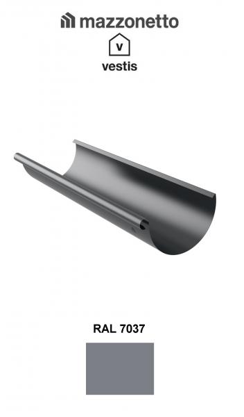 Jgheab semicircular Ø150 / 3m, Burlan Ø100, Aluminiu Mazzonetto Vestis, RAL 7037 0
