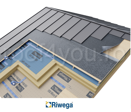 Membrana cu covor de ventilatie pentru montaj tabla faltuita Riwega USB Drenlam Diff Top 512 SK, 24x1.5=36mp 1