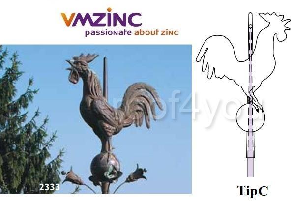 Ornament de varf 3D VMZINC, latime 550 mm, diametru bila ø 16 mm  Model 2333, Asamblare tip C 0