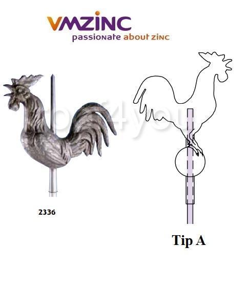 Ornament de varf 3D VMZINC, latime 400 mm, Model 2336, Asamblare tip A 0
