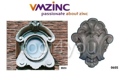 "Ornament lucarna standard ""bull's eyes"" VMZINC, golul de fereastra 0.5 x 0.4 m,  inaltime 0.95 m, latime 0.78 m, Model 3024 0"