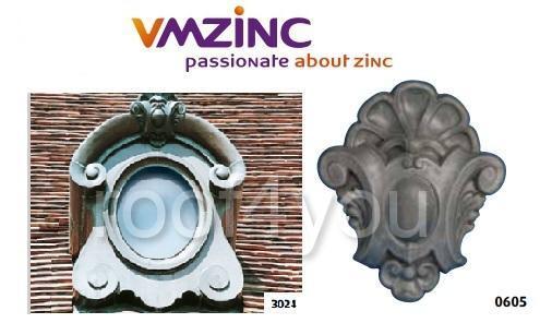 "Ornament lucarna standard ""bull's eyes"" VMZINC, golul de fereastra 0.65 x 0.5 m,  inaltime 1.18 m, latime 1 m, Model 3024 0"