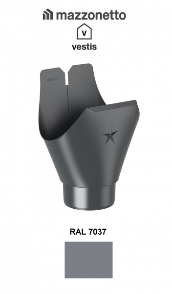 Racord jgheab semicircular Ø150, Burlan Ø100, Aluminiu Mazzonetto Vestis, RAL 7037 [0]