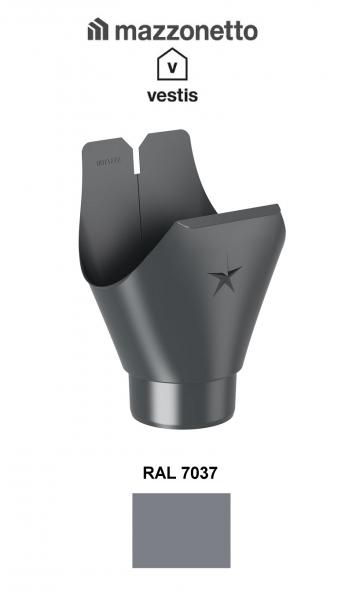 Racord jgheab semicircular Ø150, Burlan Ø100, Aluminiu Mazzonetto Vestis, RAL 7037 [1]