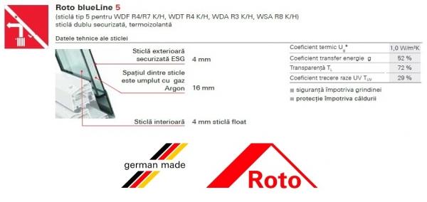 Fereastra mansarda Roto R45, 54/78, toc din lemn, izolatie WD, deschidere mediana, geam dublu 6