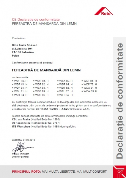 Fereastra mansarda Roto R45, 54/78, toc din lemn, izolatie WD, deschidere mediana, geam dublu 14