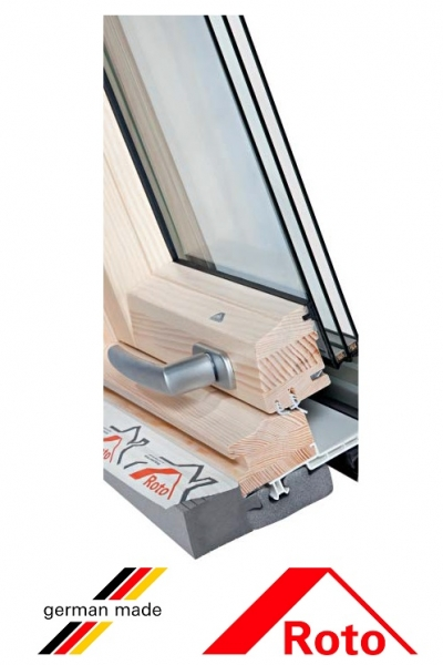 Roto R69G, 65/118, toc din lemn, izolatie WD, deschidere mediana, geam triplu 3