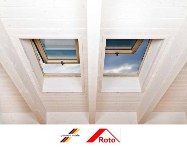 Fereastra mansarda Roto R88, 114/118, toc din lemn, izolatie WD, dubla deschidere, geam dublu 4