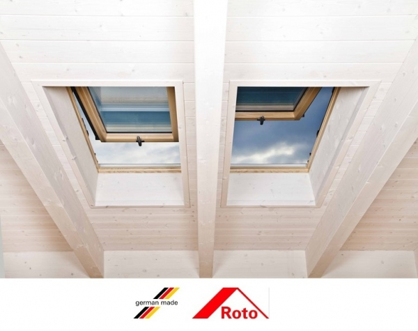 Fereastra mansarda Roto R88, 65/118, toc din lemn, izolatie WD, dubla deschidere, geam dublu 4