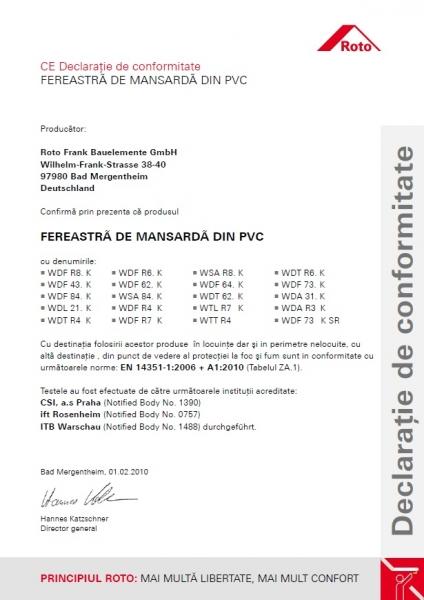 Fereastra mansarda Roto R88, 65/140, toc din pvc, izolatie WD, dubla deschidere, geam dublu 14