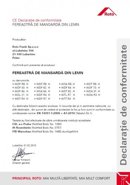 Fereastra mansarda Roto R88, 65/140, toc din pvc, izolatie WD, dubla deschidere, geam dublu 13