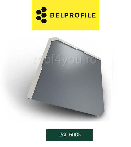"Solzi BELPROFILE QUADRA, suprafata ""BigStone"", grosime 0.5 mm, RAL 6005 1"