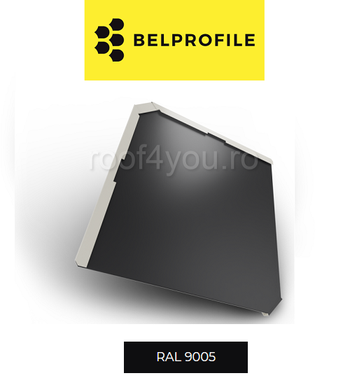 "Solzi BELPROFILE QUADRA, suprafata ""BigStone"", grosime 0.5 mm, RAL 9005 0"