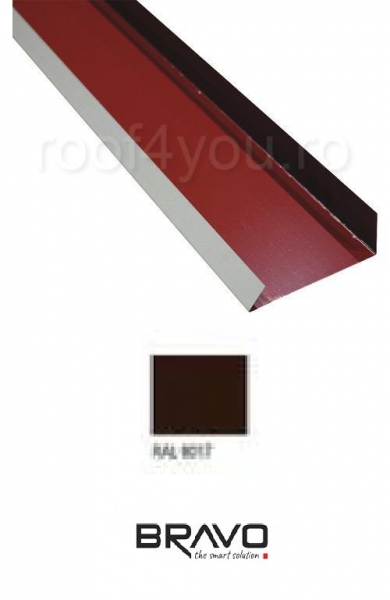 Sort Cornier margine 2 m Structurat BRAVO  0,40 mm / RAL 8017  latime 157 mm 0