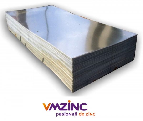 Tabla plana titan zinc natural in foaie de 1000x2000mm si grosimea de 0.55mm, Vmzinc 2