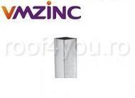 Burlan rectangular Ø100 la Ø100 mm titan zinc natural Vmzinc 2ml1