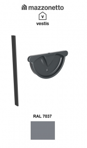 Capac semicircular cu garnitura jgheab Ø150, Burlan Ø100, Aluminiu Mazzonetto Vestis, RAL 7037 [1]