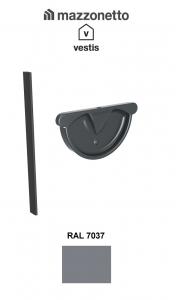 Capac semicircular cu garnitura jgheab Ø150, Burlan Ø100, Aluminiu Mazzonetto Vestis, RAL 7037 [0]