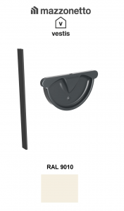 Capac semicircular cu garnitura jgheab Ø150, Burlan  Ø100 Aluminiu Mazzonetto Vestis, RAL 90101
