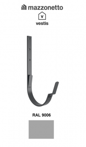 Carlig lung pentru jgheab semicircular Ø150, Aluminiu Mazzonetto Vestis, RAL 9006 [1]