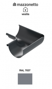 Coltar interior semicircular jgheab Ø150, Burlan Ø100, Aluminiu Mazzonetto Vestis, RAL 70371