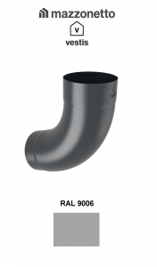 Cot semicircular 72° Ø100, Aluminiu Mazzonetto Vestis, RAL 90060