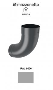 Cot semicircular 72° Ø100, Aluminiu Mazzonetto Vestis, RAL 90061