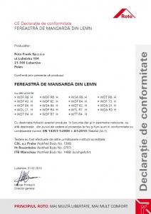 Fereastra mansarda Roto R69G, 65/118, toc din lemn, izolatie WD, deschidere mediana, geam triplu11