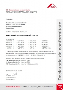 Fereastra mansarda Roto R69G, 65/118, toc din pvc, izolatie WD, deschidere mediana, geam triplu12