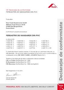 Fereastra mansarda Roto R69G, 74/140, toc din pvc, izolatie WD, deschidere mediana, geam triplu12