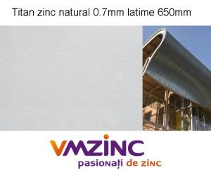 Titan zinc natural sub forma de rulou cu latimea de 650mm, lungimea de 31m si grosimea de 0.7mm, Vmzinc [0]