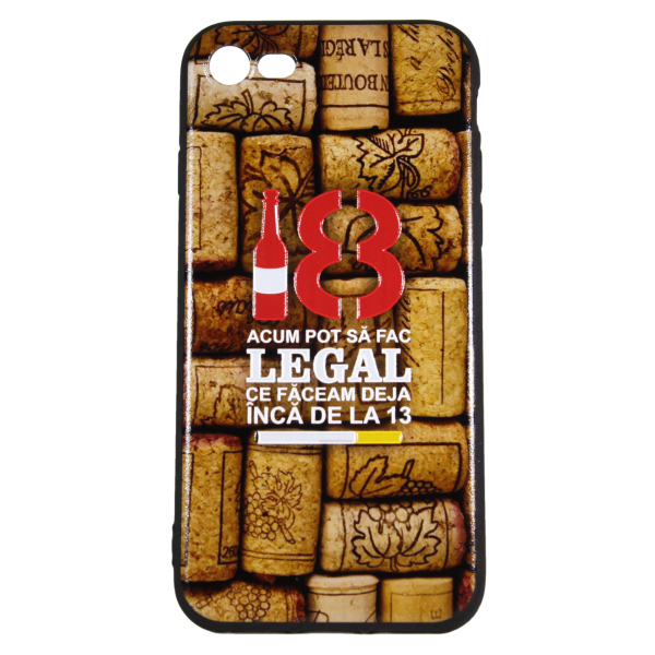 "Husa iPhone 8 TPU Negru Print Mesaj 3D ""18 acum pot sa fac legal ceea ce faceam la 13 ani "" 0"