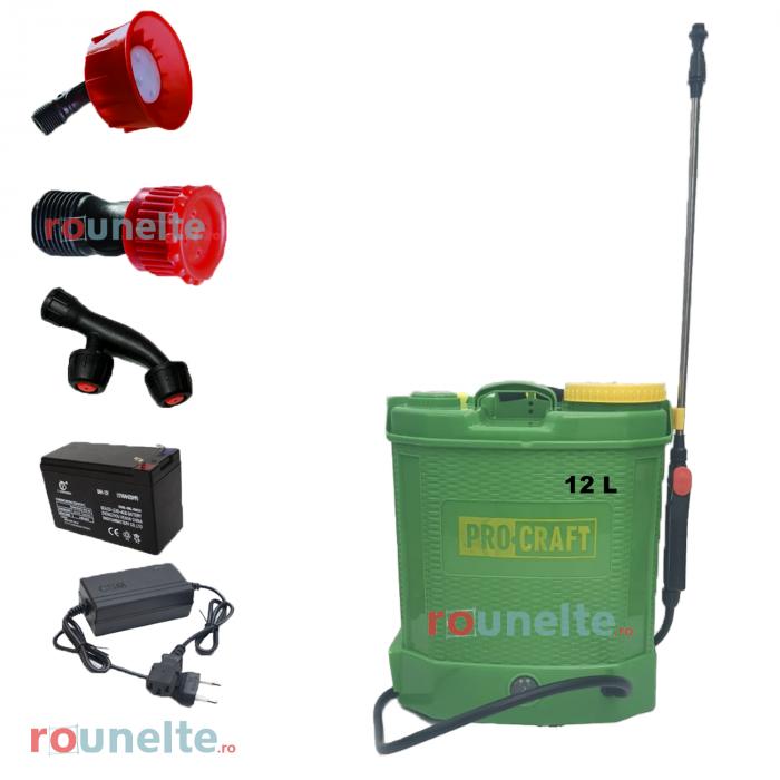 Pompa stropit electrica PROCRAFT 12 Litri, 5 Bar, reglaj presiune, vermorel cu baterie acumulator 12V [0]