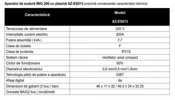 Aparat de sudură Almaz MIG 200 cu plasmă  AZ-ES013 [7]