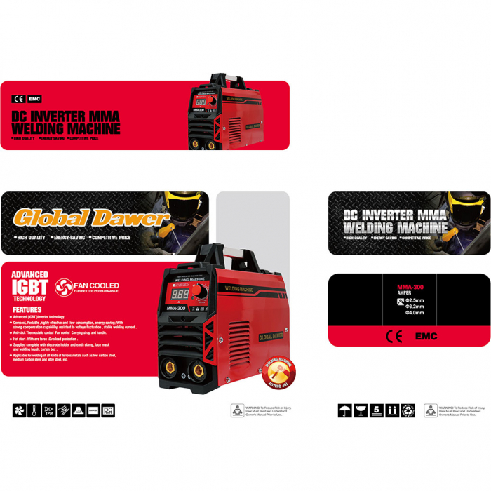 Aparat de Sudura tip Invertor, Dawer, MMA 300, Electrozi 1.6 - 5 mm, 300 A 3