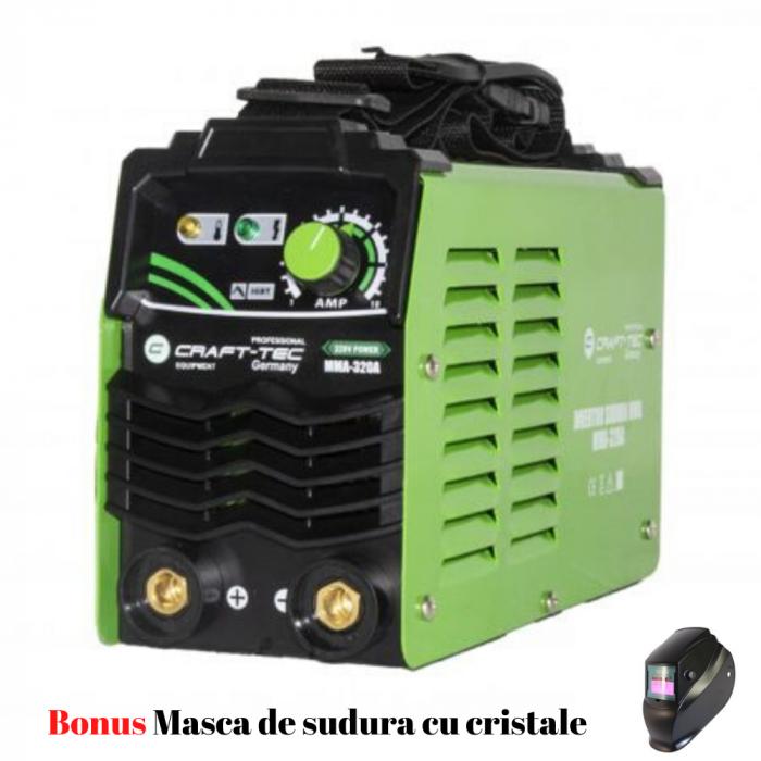 Aparat Sudura Invertor CRAFT-TEC MMA 320A, 320Ah, diametru electrod 1.6 - 4 mm+Masca Cristale 0
