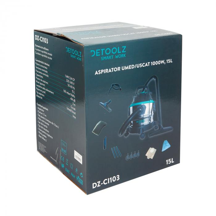 Aspirator uscat umed DeToolz DZ-CI103, 1000W, capacitate 15L [7]
