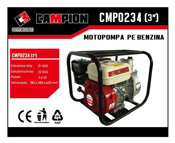 "Motopompa pe benzina 3"" 3 toli,  7.5CP, 4 timpi, 196 CC, CAMPION CMP0234 [1]"