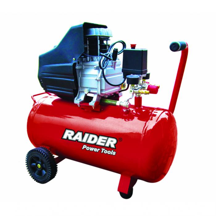 Compresor aer 2НР / 50l Raider RD-AC02, 1500W, 8 bar, regulator presiune [0]